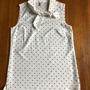 J Crew Factory Sleeveless Top w/Tie - Polka Dots